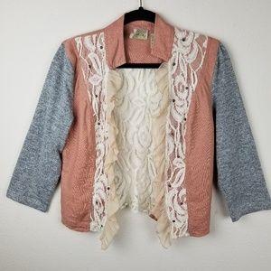 Gimmicks BKE Buckle Lace Trim Linen Blend Cardigan